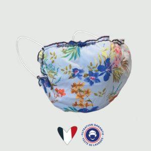 Masque Imprimé Hibiscus Bleu